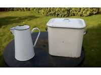 Vintage white and blue enamelware