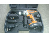 Worx 18v Cordless hammer drill WX368.3. In very good condition but needs suitable charger