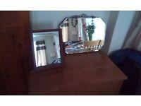 Vintage wall art deco mirror plus dressing table mirror