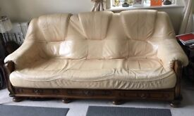Cream Leather 3 piece suite & chair