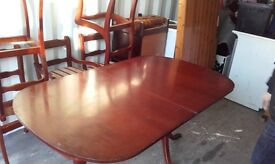 MAHOGANY TABLE WITH 5 CHAIRS