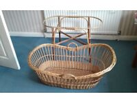 Wicker baby crib and stand -excellent condition