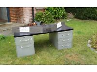 Large Metal Desk with drawers. Free collection. Need gone this weekend.