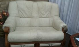 Cream 2 Seater Leather Sofa and 1 Matching Arm Chair