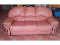 3 seater leather couch vgc