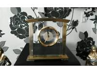 Brass and glass mantel clock