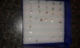 Clear Cubic Zirconia Earrings 2mm 14 Pairs