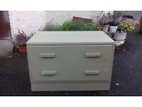 1960s. chest of 2 drawers made of solid oak in tea green, retro bedside cabinet 1960 s, shoe storage