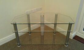 Television Corner Table Glass, excellent condition, solid / heavy.