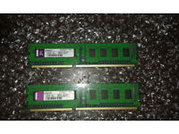 2x Kingston 1Gb PC3-10600 1333Mhz DDR3 Desktop Memory RAM KTW149-ELD