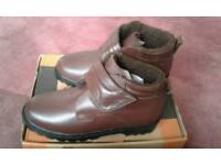 Mens Brown Leather Touch Fastening Boots