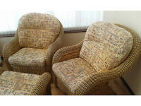Two Wicker Conservatory Chairs and Stool