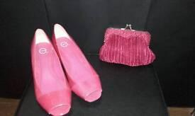 Fuchsia pink bag & size 7 shoes