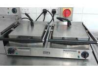 lincat double contact panini grill electric upper ribbed and smooth bottom