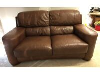 CAN DELIVER- BROWN LEATHER SOFA IN GOOD CONDITION