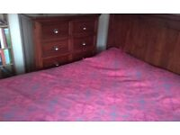 Kingsize solid wood bed and matching dresser for sale.Absolute bargain!