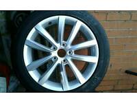 """Brand new genuine 17"""" VW alloy wheel and Continental tyre"""