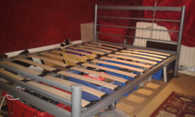 double bed frame grey metal