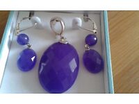 JEWELRY SET EARRINGS AND PENDANT(NO CHAIN) WITH STERLING SILVER CLASPS