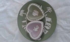 Vintage Wedgewood Jasper Ware Plate and two trinket dishes