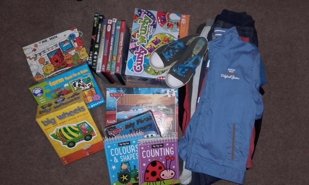 Boys bundle of clothes and toys preschool age 3-4