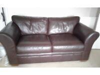 Two Next Brown Leather Sofas