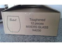 BOX OF 12 TOUGHENED BRITVIC MIXER GLASSES - NEW