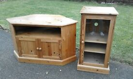 pine tv cabinet and stereo cabinet