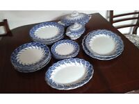 Attractive blue and white dinner service