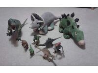 dinosaur figures and teddy's