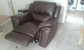 brown leather recliners 3+2+1 good condition