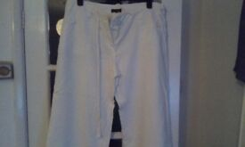 Ladies white linen trousers size 16