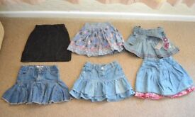 bundle of 6 girl skirts size 4-5 years