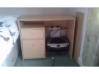 Pine coloured computer desk with two drawers and three shelves