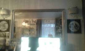 VERY LARGE PINE MIRROR IN SILVER MESUREMENTS ARE66inc x 42 Inc