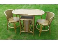 small wicker table and two chairs (breakfast set) For kitchen or conservatory