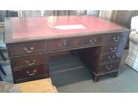 Vintage inlaid huge desk with 8 drawers red leather great condition £120.00