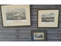 3 Antiquarian prints of Cornish views