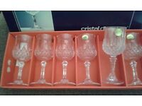 6 new sherry/port lead crystal glasses, boxed. Cristal d'arques.