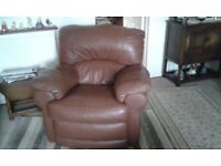 Brown Italian leather 3 piece sofa.