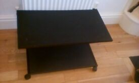 Black, low height Small Table / Trolley on wheels
