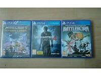 3 x Sealed PlayStation PS4 Games (Uncharted 4. Minecraft Story mode. Battleborn)