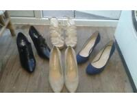 four pairs of womens shoes never worn + leather look jacket