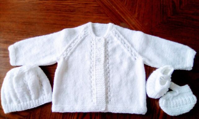 Hand Knitted White Girls MATINEE Set