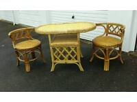 Wicker garden table and chairs