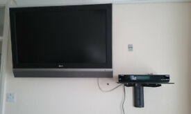 L.G 37 inch LCD T.V complete with wall bracket, Humax freesat box and shelf unit