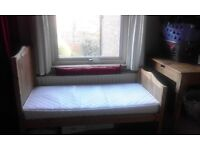 Toddler wooden bed with new mattress. Used once only £40