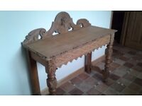 GREEN MAN SOLID OAK CARVED HALL TABLE DESK SIDE TABLE SOUND AND SOLID DRESSING TABLE BEDROOM KITCHEN