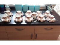 100% VINTAGE QUEEN ANNE REGENCY 10 PIECE BONE CHINE TEA SET GOLD RIMMING