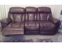 Electric reliner leather sofa